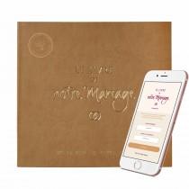 Le Livre de Notre Mariage avec jaquette simili-cuir + son application smartphone = le 1er Livre d'Or connecté